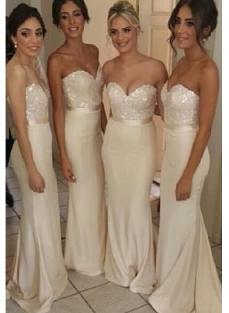 2014 Cheap Bridesmaid Dresses Ivory Sequins Sweetheart Floor Length Sexy Party Dresses bridesmaid dress, 2015 bridesmaid dresses