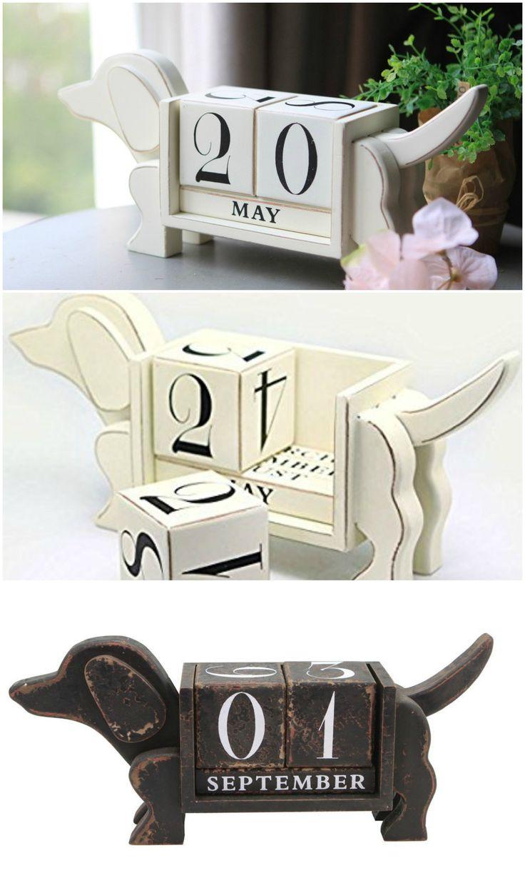 Dachshund Dog Shape Perpetual Desk Calendar Wood Blocks