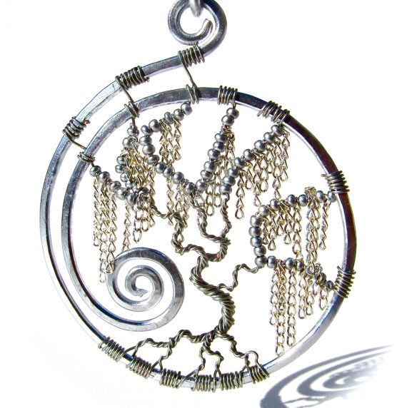 Tree of Life - Silver Weeping Willow Pendant with Silver Chain Leaves and Silver…