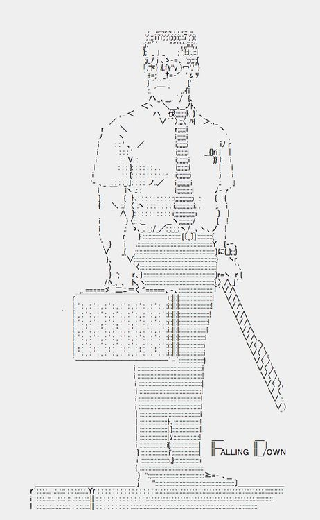 Falling Down by ness_rivera, 2012  This is Japanese style ASCII ART.I drew this with the text editor of Mac. I love this movie & him!I a...