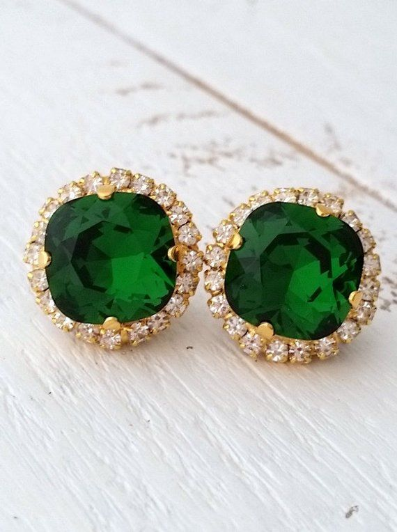 Emerald Earringsemerald Green Studsstud Earringsemerald Etsy Silver Crystal Earrings Stud Earrings Emerald Earrings