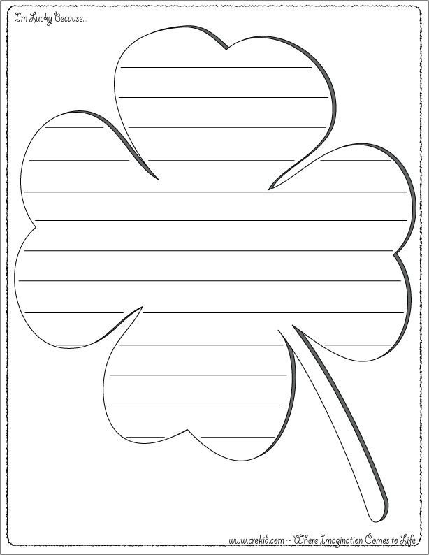 St. Patrick's Day Writing Prompts ~ St. Patrick's Day ~ Leprechaun ~ Luck ~ Clover ~ Four Leaf Clover ~ Rainbow ~ Luck Of the Irish ~ March ~ green ~ Pot Of Gold ~ Kindergarten ~ First Grade ~ 1st Grade ~ 2nd Grade ~ Second Grade ~ 3rd Grade ~ Third Grade ~ Activities ~ Printouts ~ Printable ~ Worksheets ~ St. Patrick's Day Theme ~ Preschool Themes ~ www.crekid.com ~ Where Creativity & Imagination Come to Life