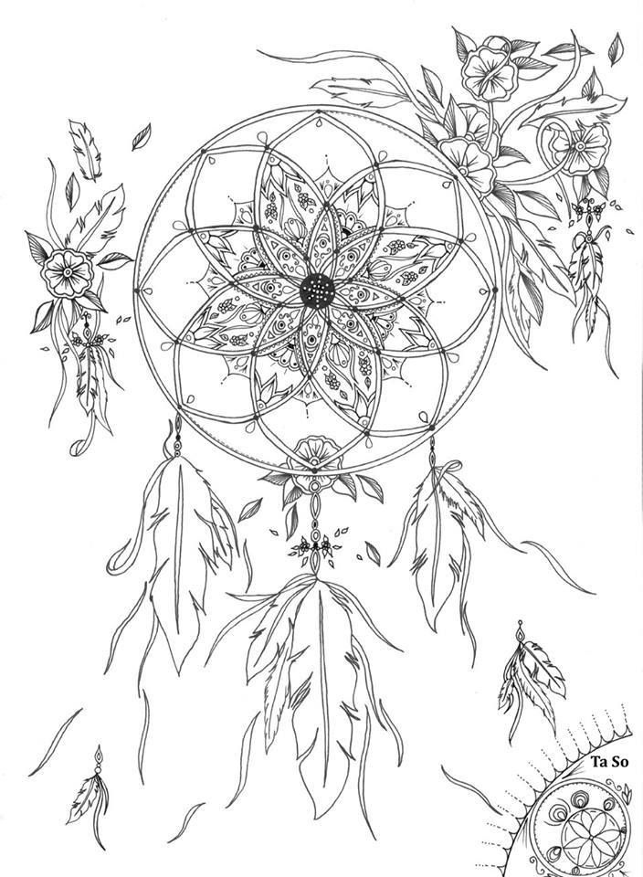 detailed dream catcher coloring pages - photo#5