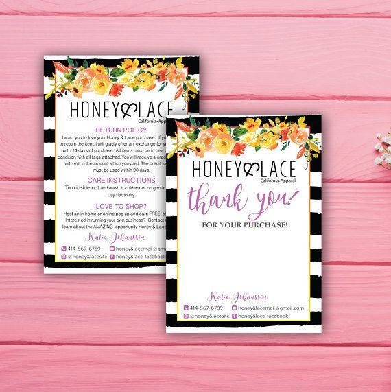 Honey and Lace Instruction Card and Thank You card, Custom Honey & Lace Purple style and floral flower, Printable Business Card