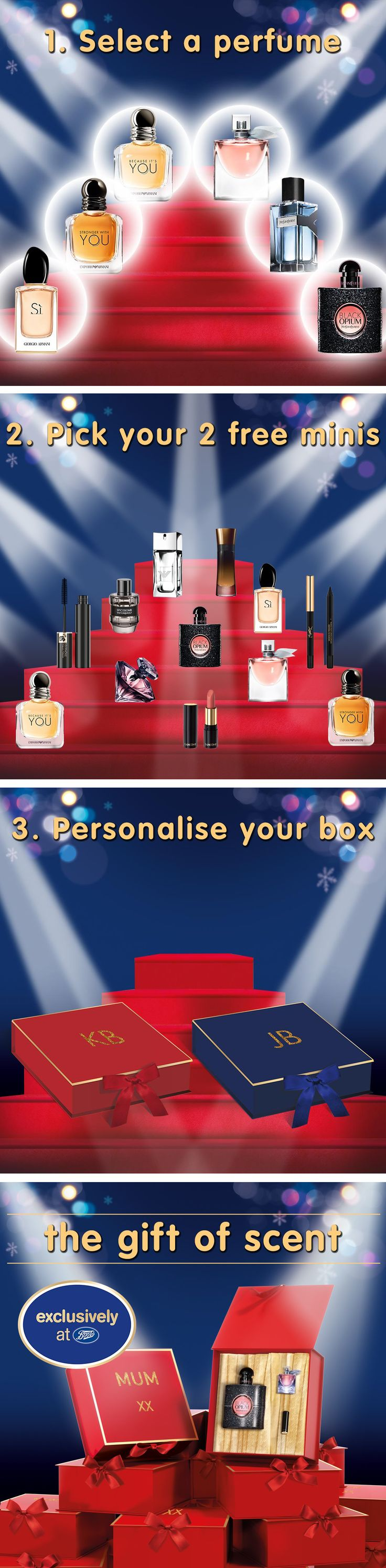 Discover how to create a personalised, custom fragrance gift set to make your loved ones feel special this Christmas! Pick a fragrance among the selection, get a complimentary personalised box and two free mini products when purchased in store.