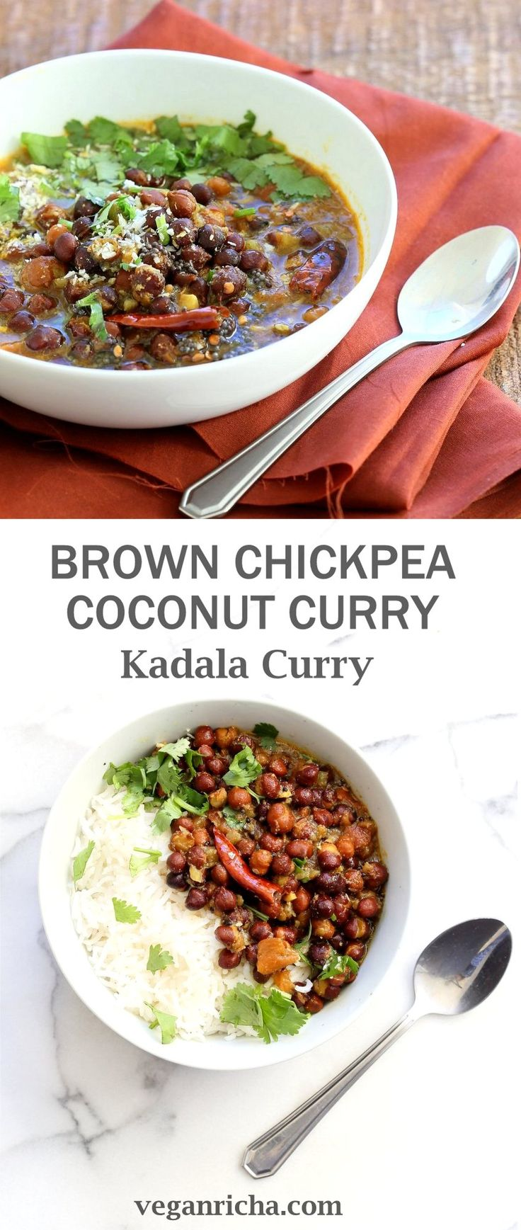 Kadala Curry - Bengal Gram or Kala Chana Curry with Coconut and Spices. Brown Chickpea Coconut Curry from South India (Kerala). Serve with rice, appams, dosas or make a bowl with roasted veggies and grains. Vegan Gluten-free Soy-free Indian Recipe | VeganRicha.com
