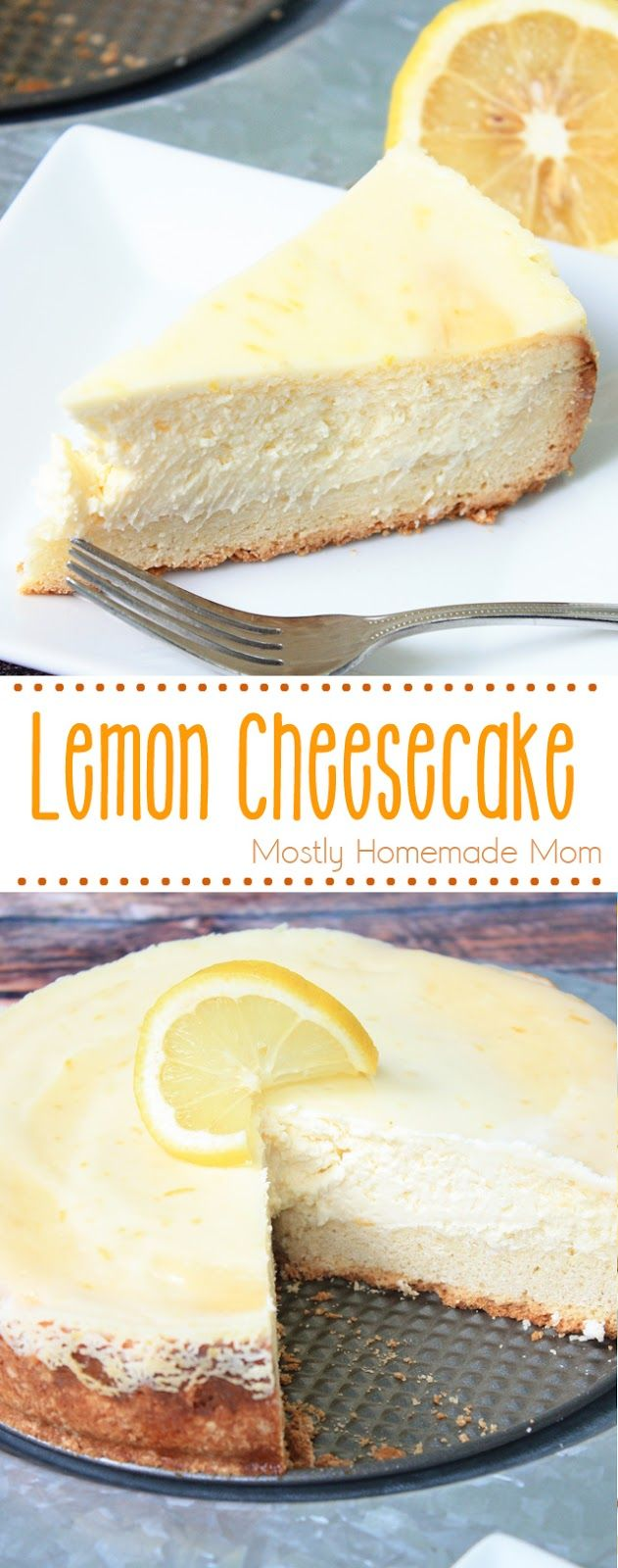 Lemon Cheesecake - absolutely perfect and easy to make! A shortbread crust, lemon cheesecake filling, and a sour cream topping make this dessert recipe complete!
