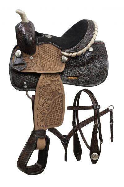 Double T pony saddle set with engraved silver conchos