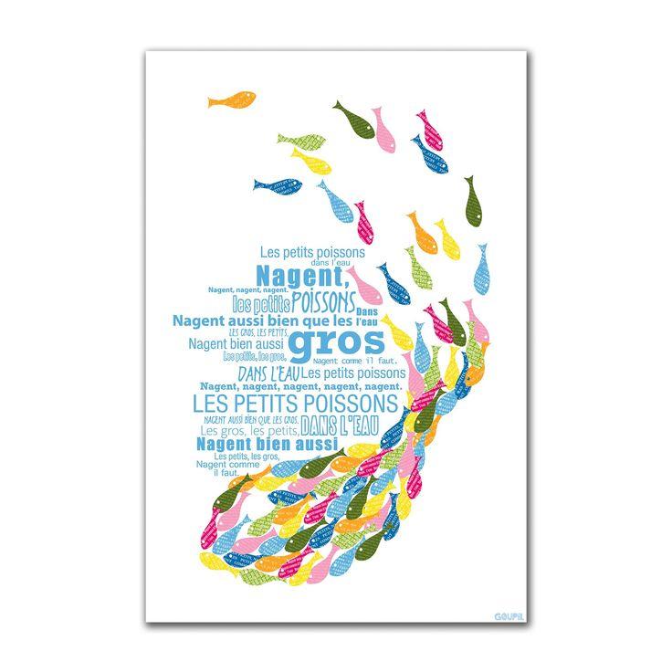 """Tableau 30x30cm : comptine """"Petits poissons dans l'eau"""" Multicolore - Comptine - Images et affiches enfants - Décoration pour enfant - Univers des enfants - Décoration d'intérieur - Alinéa"""