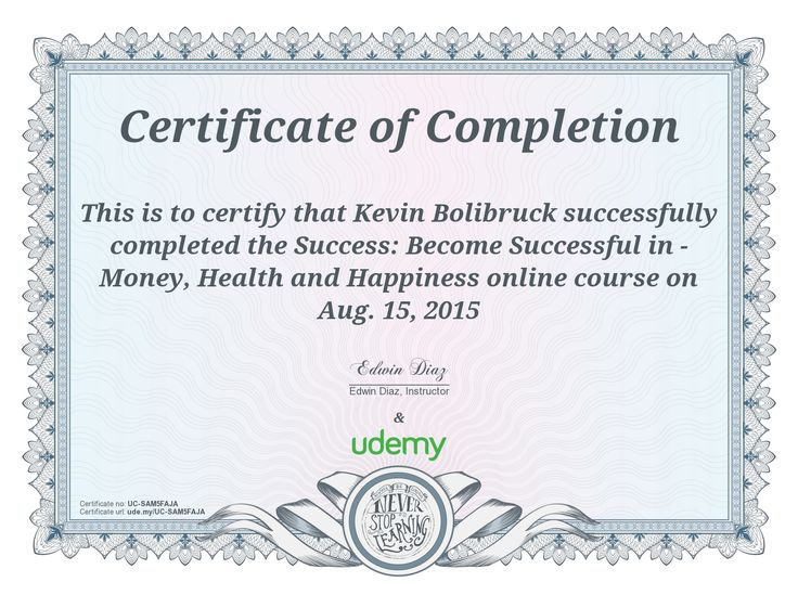 Best Online Courses Udemy Certificate of completion