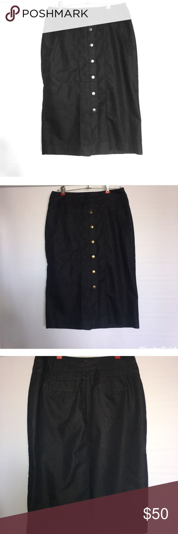 Black pencil skirt NWOT Worthington Black pencil skirt button up the front zipper in the back size 8 New without tags Worthington Skirts Pencil
