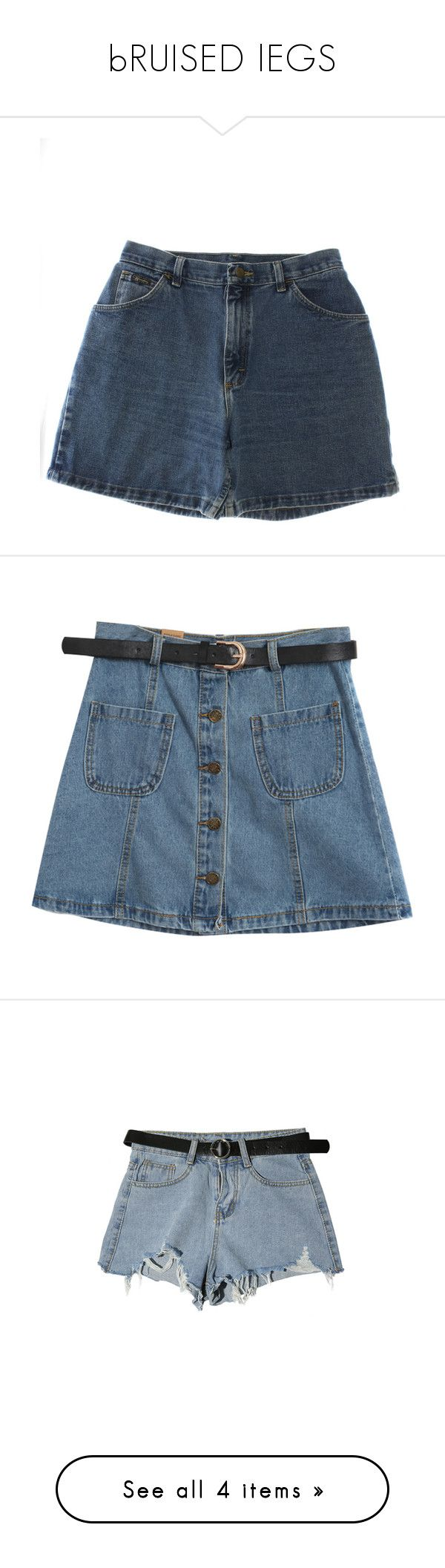 """""""bRUISED lEGS"""" by pinkslug ❤ liked on Polyvore featuring shorts, bottoms, skirts, denim shorts, short jean shorts, vintage jean shorts, gold shorts, button shorts, wrangler shorts and saias"""