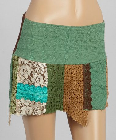Look what I found on #zulily! Green Lace Patch Miniskirt by Blue Sky #zulilyfinds