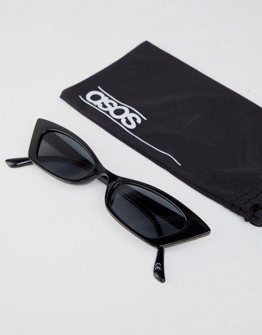 edcddb95f2ef DESIGN squared off narrow cat eye sunglasses in 2018   W H I S H ...
