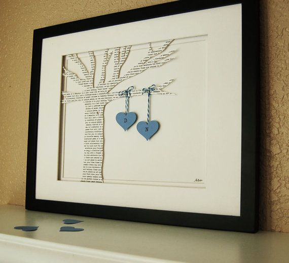 First Dance Song, Wedding Vows or Custom Wording on a Printed Paper Tree with Hanging Hearts in Blue