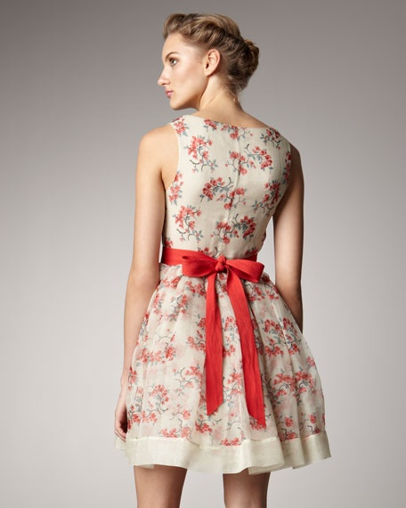 *RED Valentino Tie-Back Dance Dress*Ties Back Dance, Floral Prints, Red Valentino, Dance Dresses, Bows Flower, Braids Dresses, Prints Sundresses, Red Bows, Flower Braids