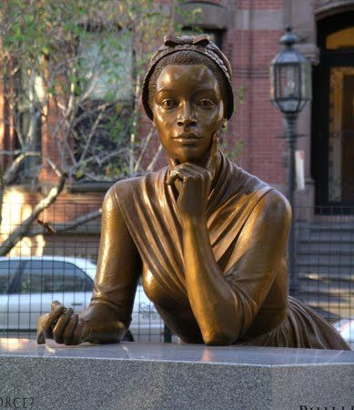 "Phillis Wheatley was the first known African American poet and the first known female African American to publish a book. Her writings helped create African American Literature. She was bought at 17 by the Wheatley family who taught her how to read and write. Many white Americans didn't believe an African could write poetry so they examined Wheatley in court later concluding that the poems she wrote were hers. ""In my library."" #TheTravelingMan michaelpking.org"