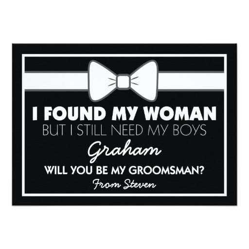 Will You Be My Groomsman Black/White Bow Tie 4.5x6.25 Paper Invitation Card