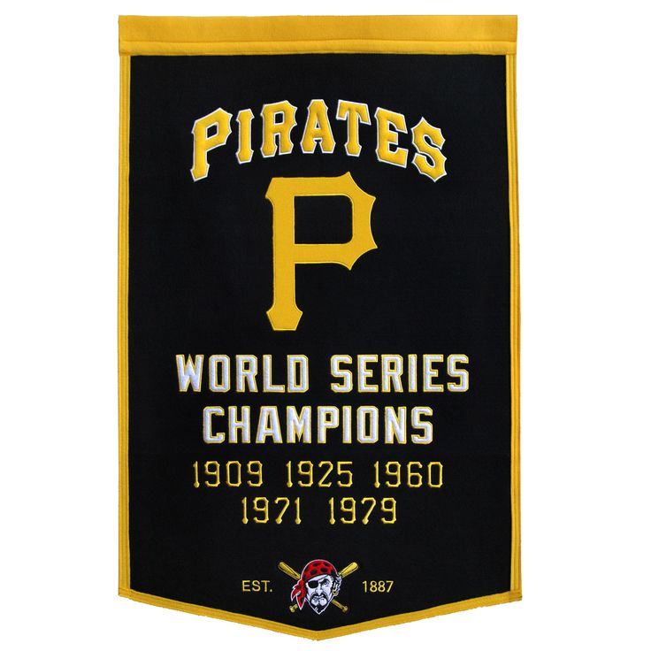 "This beautifully embroidered 24"" x 38"" ""Dynasty"" banner commemorates the World Series Championships won by the Pittsburgh Pirates. This unique banner design celebrates the team's dynasty."