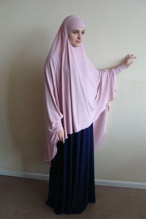 Transformer blush Khimar Transformer light pink hijab