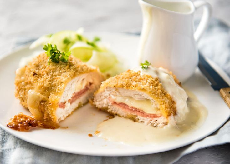 My EASY Chicken Cordon Bleu recipe. All the flavour, all the crunch, healthier and far easier! Served with an incredible Dijon cream sauce.