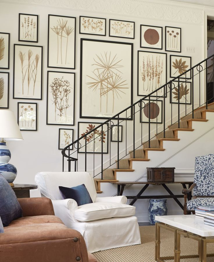 gallery wall of sepia-toned botanicals by South Carolina artist Becky Davis