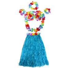 Renkli Sıcak Yaz Plaj Ladys Hawai Çim Etek Komik Parti Çiçekler Hula Bileklik Çelenk Kostümleri Setleri(China (Mainland))