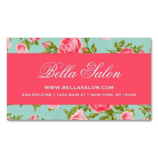 girly chic elegant vintage floral roses business card templates