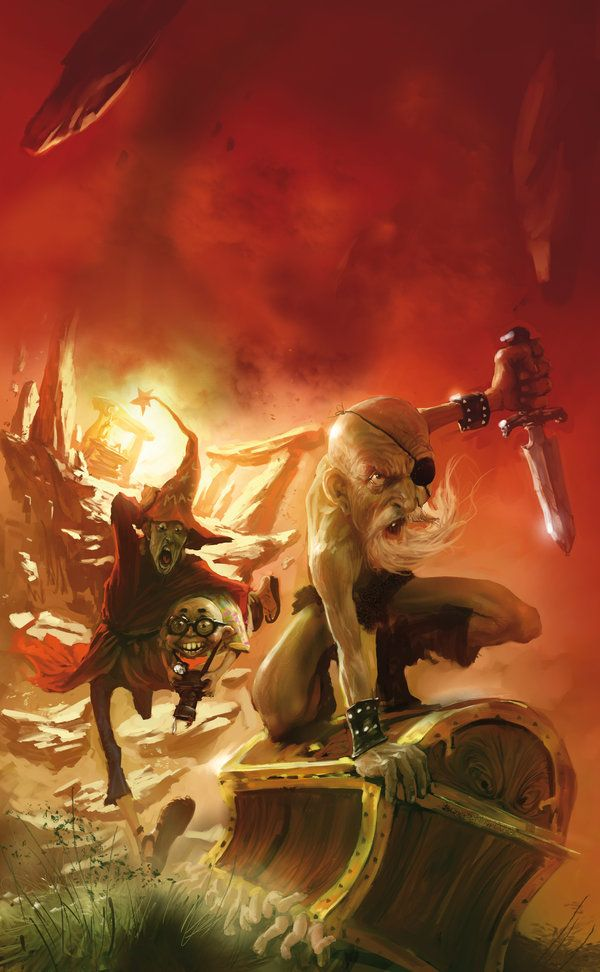 """This is the French Cover art for """"The Light Fantastic"""" By Sir Terry Pratchett, second book of the discworld series. by Marc Simonetti."""