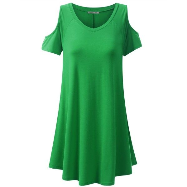 URBANCLEO Womens Off the Shoulder eLong Tunic Top Mini T-shirt Dress... (€15) ❤ liked on Polyvore featuring dresses, green tee shirt dress, mini dress, green mini dress, mini t shirt dress and t shirt dress