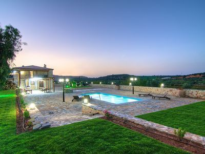 Rethymno villa rental - The pool is beautifully lit at night!
