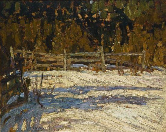 """Cedars Emileville, Quebec,"" A.Y. Jackson, 1913, oil, 8.5 x 10.5"", Art Museum, University of Toronto."