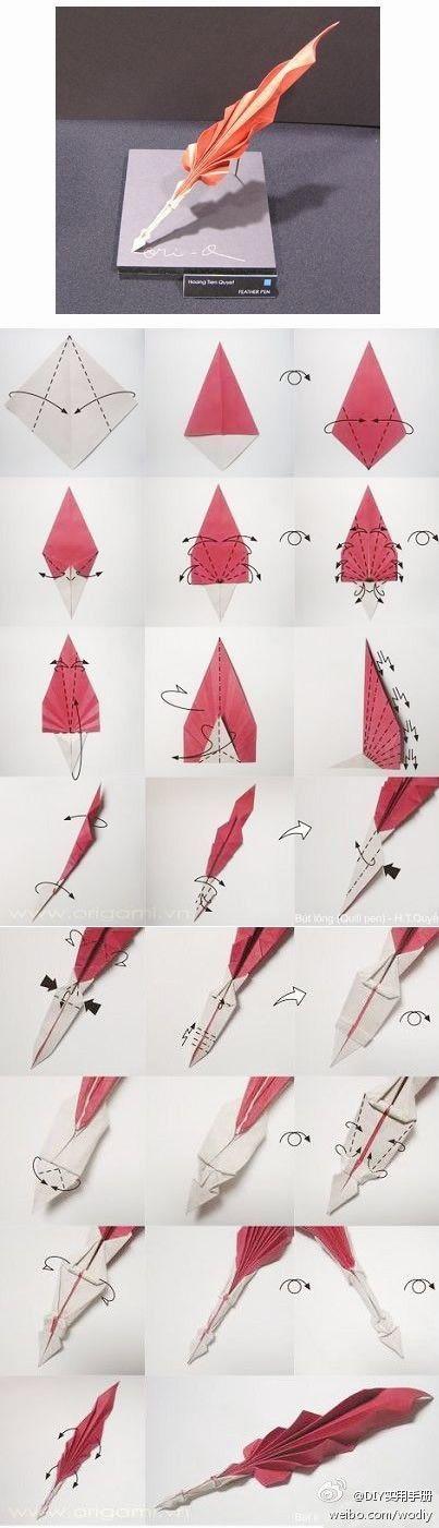 Origami pen Quill
