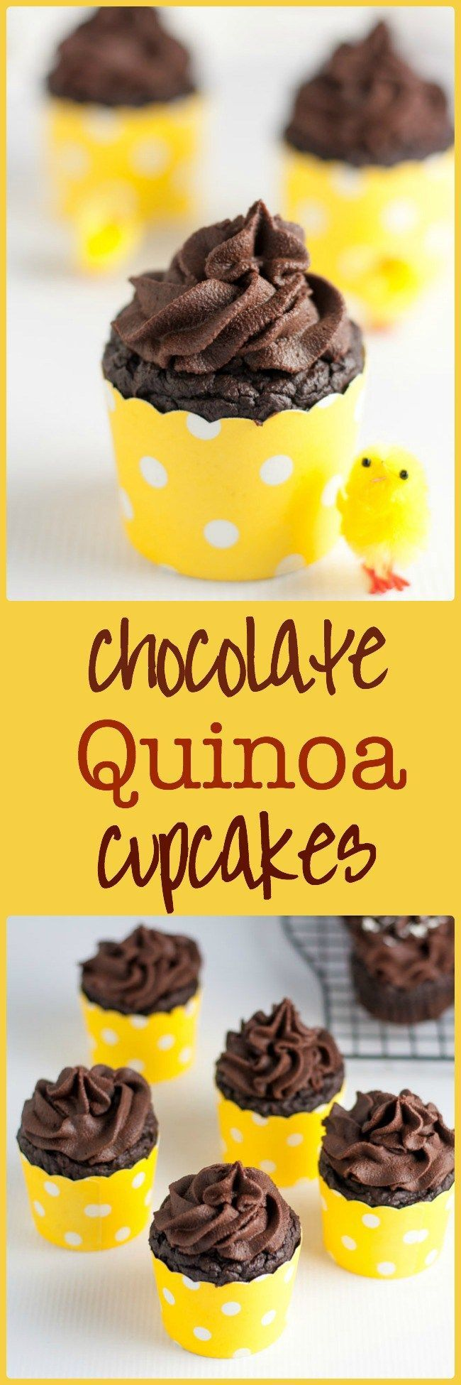 Even Healthier Chocolate Quinoa Cupcakes. An updated, healthier version of the traditional recipe, now gluten-free, dairy-free and refined sugar-free too! Rich chocolate flavour, topped with Whipped Chocolate Coconut Milk frosting. Perfect for Easter treats!