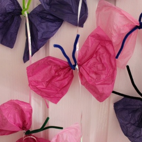 Quick Toddler Craft – Tissue Paper Butterfly Mobile