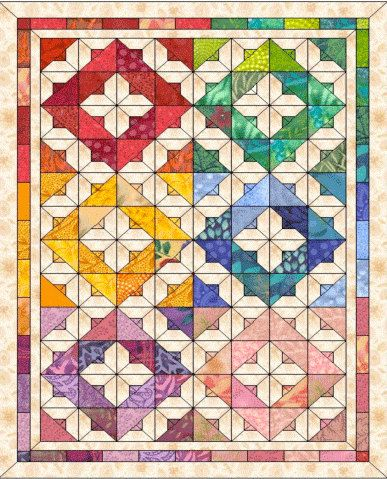 This quilt is Gorgeous with capital G !!! Jewel like and colorful its fun to make and looks awesome!