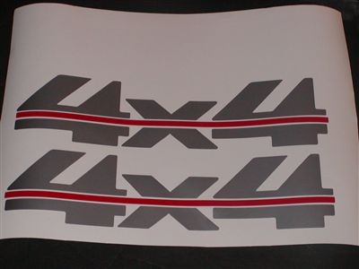 4x4 2 Two Color Silver W Red Stripe Bed Decal