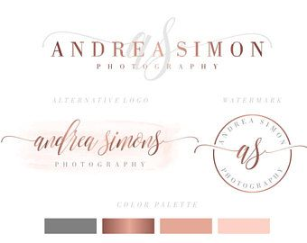 Marca paquete, marca Kit, preconfeccionados Logo, Logo acuarela, rosa Logo, insignia de oro de Rose, Calligpaphy, fotografía insignia, insignia de la boda