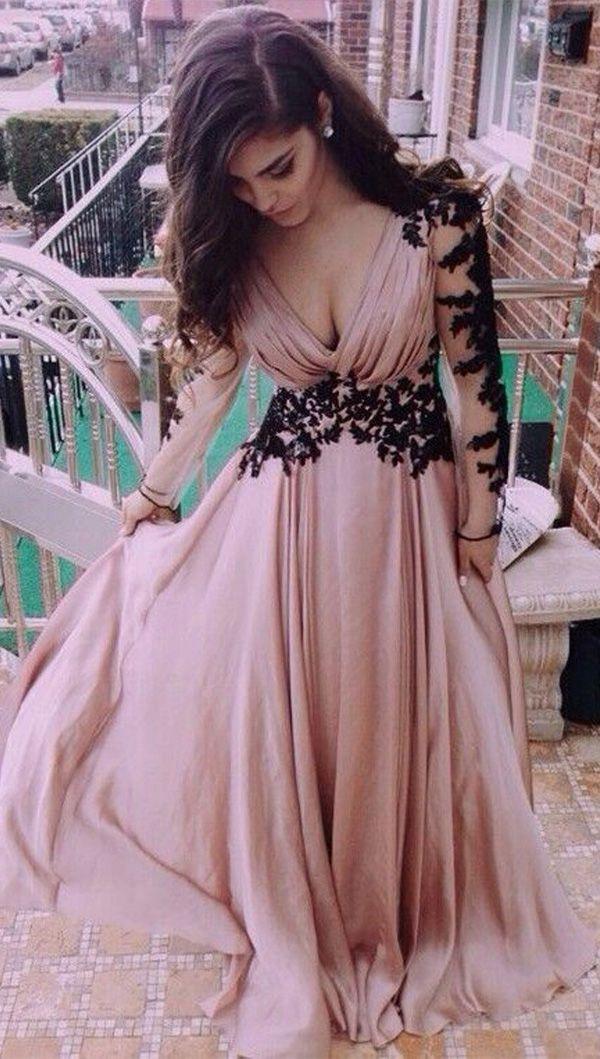 7135954712d V-Neck Long Sleeve Lace Prom Dresses Evening Dresses PG 245  promdresses   eveningdresses  longpromdress  2019promdress