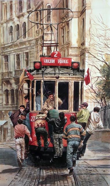 "Bir Başka İstanbul: taksi tram ""Bedavacılar "" Art painting by Ömer Muz:  Turkish Artist  watercolor"