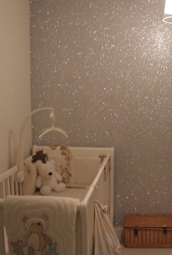 Make your own glitter wall!  You need 3 ounces or 75 gram of (silver) glitter for 1 gallon or 4 Liter of paint. Mix the glitter with the paint, but you want to add in a little in at a time, otherwise all the paint crystals will sink to the bottom. After a few days though, they will sink to the bottom of the paint can, so don´t wait too long.
