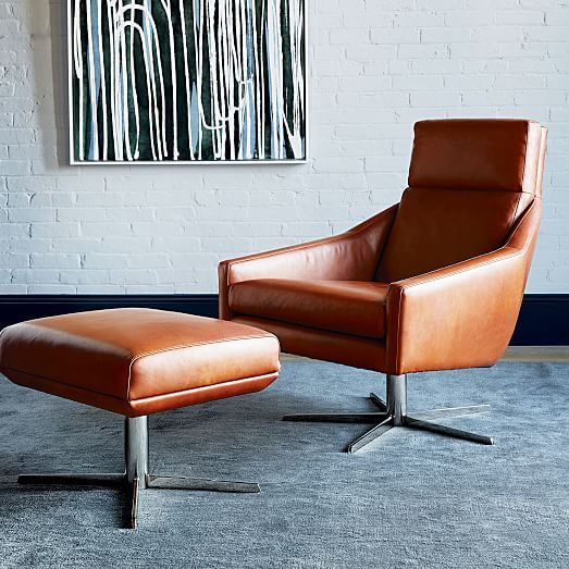 Austin Leather Swivel Armchair | west elm