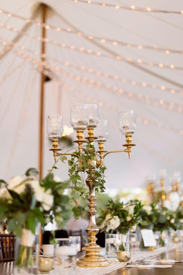 Classic gold wedding table decor: http://www.stylemepretty.com/2017/03/30/modern-chic-estate-wedding/ Photography: Studio Atticus - http://www.studioatticus.com/