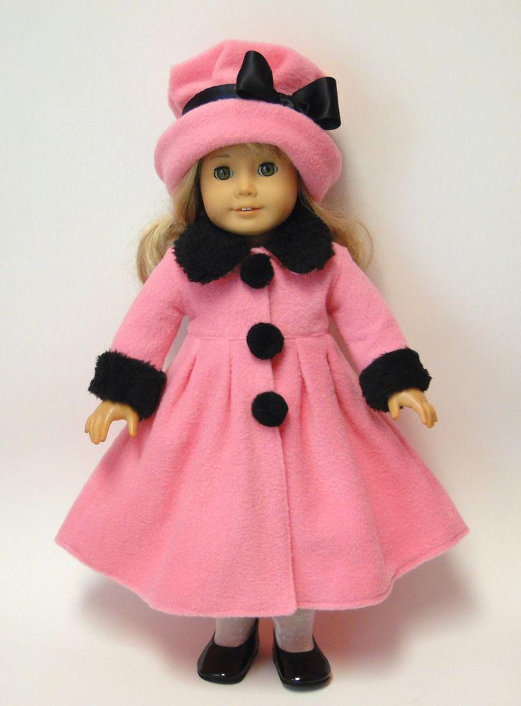 PDF Sewing Pattern - Doll Coat and Hat Set - Fits American Girl Doll or other 18 inch doll. $8.95, via Etsy.