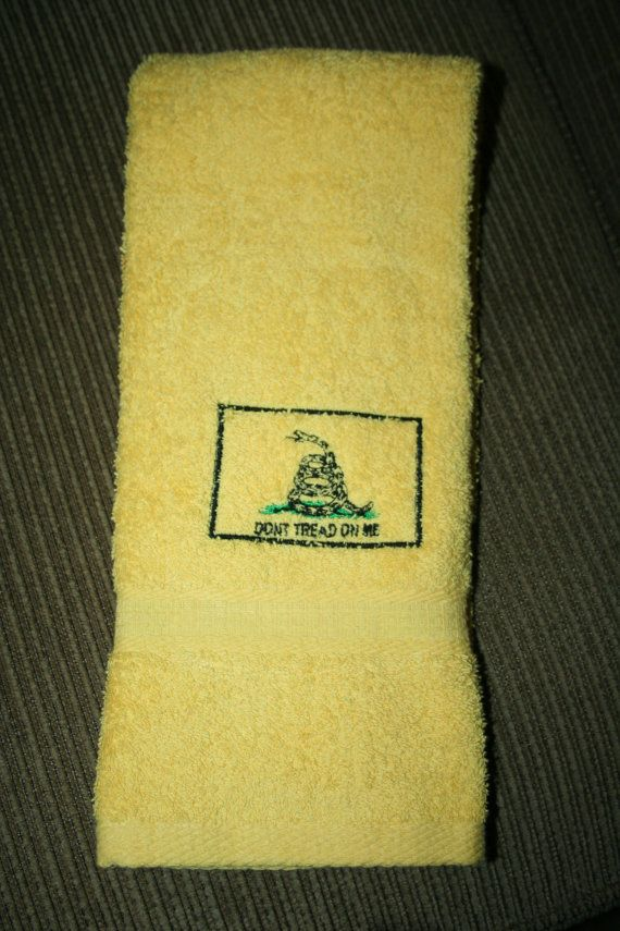 Don't tread on me 1 yellow hand towel with by CantStopEmbroidering