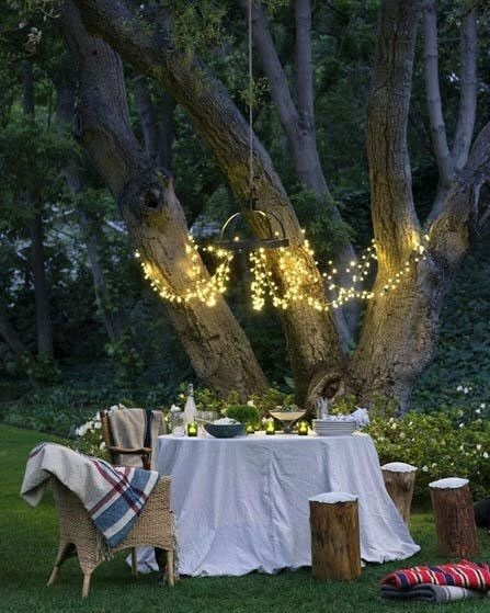 outside dining: Idea, Romantic Dinners, Fairies Lights, String Lights, Trees, Dinners Parties, Backyard, Summer Night, Gardens Parties