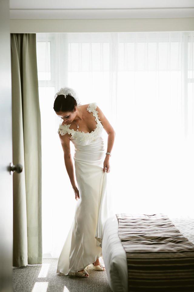 Mel's white sheath wedding dress http://www.arcarocouture.com.au