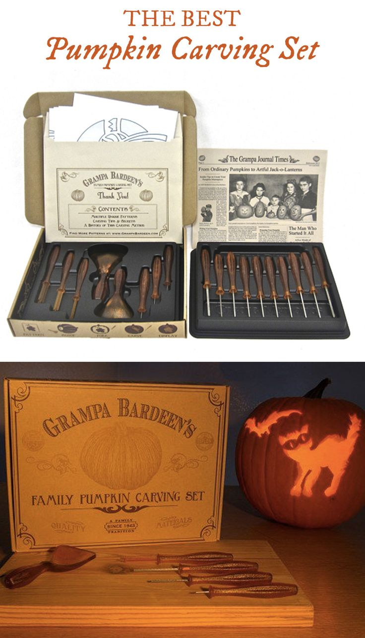 Grampa Bardeen's pumpkin carving kit contains easy-to-use tools designed for safer and more accurate carving. With enough tools to share, and many templates for inspiration, carve your best-ever pumpkins with the entire family.