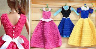 Crochê para Barbie, roupinhas e vestidos das princesas disney. Veja os videos com os passo a passo!!! - Mais Aqui!