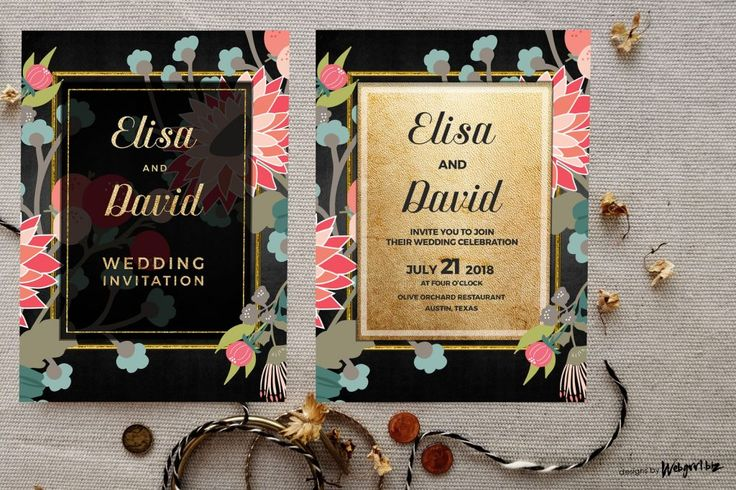 NEW DESIGN ★ Gold Floral Wildflowers Wedding Invitation ★   designs by Webgrrl at #lemonleafprints »  http://ishop.webgrrl.biz/product/gold-floral-wildflowers-wedding-invitation?utm_content=buffer1b062&utm_medium=social&utm_source=pinterest.com&utm_campaign=buffer